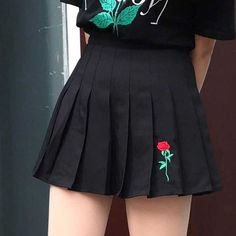 Rose embroidery aesthetic pleated school black skirt at online store. Kawaii Cheap clothing as aesthetic, ulzzang, harajuku, tumblr, pastel grunge style