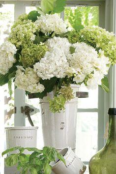Flower arrangement ~ white and green