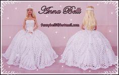 Olá a todos (as)!!!   Hoje eu conclui o Vestido de Noiva que fiz para a Barbie.   Fiz ele em Crochê e depois apliquei Miçangas Branca Perol...