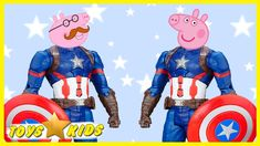 Peppa Pig and Friends Super Hero Сaptain America Finger Family Song For ...
