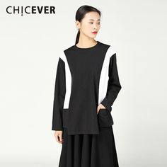 0354604ad0153c CHICEVER Spring irregular Female T shirt For Women Top Long Sleeve Hit  Colors Knitted Pullovers T shirts Clothes Fashion Casual-in T-Shirts from  Women s ...