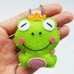 Felt ornament frog prince charm, keychain, key ring