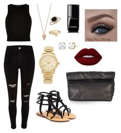 """"""""""" by sydney-alexis-spradley on Polyvore featuring Mystique, Michael Kors, Topshop, Pamela Love, Bling Jewelry, Blue Nile, Lime Crime and Chanel"""