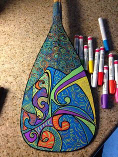 Painted paddle Painted Picnic Tables, Outrigger Canoe, Sup Paddle, Canoes, Art Life, Surfboard, Kayaking, Hawaiian, Kayaks