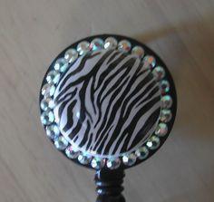 Swarovski Crystal Retractable ID Badge Reel  Zebra by aprilsbag, $10.00