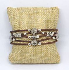 SAMPLE SALE Beaded Leather Bracelet  Silver by SeaRanchJewelry