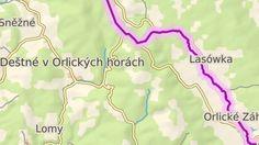 Vybraná stanoviště orlickohorských skláren v okolí Deštného: červená - Deštné (ovčín), tmavě modrá - Karolínina huť (Jedlová-Zákoutí), světle modrá - Stará Huť, zelená - Anenská huť (Kamenec), oranžová - Na Cikánce (Deštné), zelená - Bedřichovka, žlutá - Kaiserswalde (Lasówka, PL)
