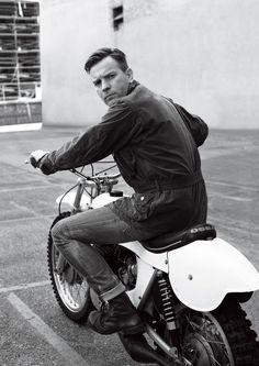 Photo of Ewan McGregor on a Vintage Ossa Motorcycle | Motorcycle Blog of Leatherup.com