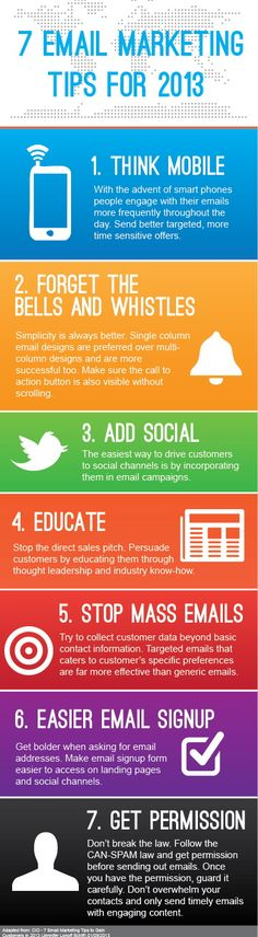 Infographic - 7 Email Marketing Tip for 2013. My favorite is #2. Don't send me a newsletter that looks like it was designed in 1990. Send me a basic email!