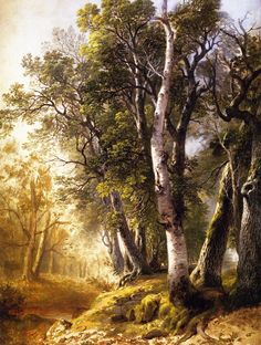 Asher B. Durand - Trees by the Brookside, Kingston, New York,1846                    - 1846