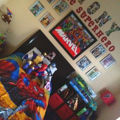 Super Hero Room: frames with front cover of comic books: framed poster: Mod Podge comic book strips on wooden letters. Your little Super hero will love this! Superhero Poster, Superhero Room, Boys Room Decor, Kids Bedroom, Bedroom Ideas, Bedroom Decor, Childrens Bedroom, Toddler Rooms, Baby Boy Rooms