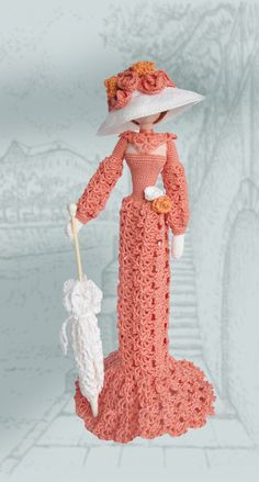 Crochet cloth Elegant art chic doll in retro style. Lady with umbrella I crocheted it of eco friendly cotton yarn. This collectible doll will decorate any interior, rais a smile and attract the attention. It can stand itself. Best gift for mom and girl Height 12 in (30cm)
