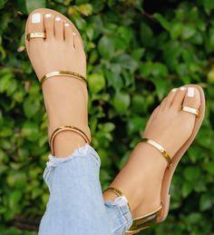 Shop Concise Solid Toe Ring Flat Sandals right now, get great deals at Joyshoetique. Shop Concise Solid Toe Ring Flat Sandals right now, get great deals at Joyshoetique. Cute Sandals, Cute Shoes, Me Too Shoes, Shoes Sandals, Gold Sandals, Sandals Platform, Flat Shoes, Metallic Flat Sandals, Flat Strappy Sandals