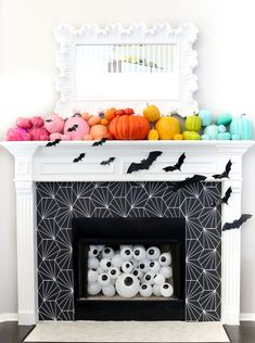 Restyle It - Wallpapered Fireplace Surround! - A Kailo Chic LifeRestyle It - Wallpapered Fireplace Surround! - A Kailo Chic Life