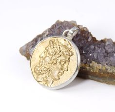 Ancient Coin Pendant - 18K Gold Plated - Sterling Silver - Zeus and Hera