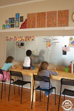 Ideas for an at-home school room for learning from Kids Activities Blog.
