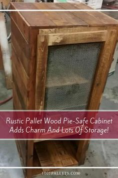 I built this rustic Pie Safe Pallet Cabinet from up-cycled wood. It features a wire-screen door and two sturdy shelves with three storage slots & oak wood. All Wood Furniture, Ikea Garden Furniture, Diy Pallet Furniture, Diy Pallet Projects, Furniture Movers, Cabinet Furniture, Furniture Making, Furniture Design, 1001 Pallets