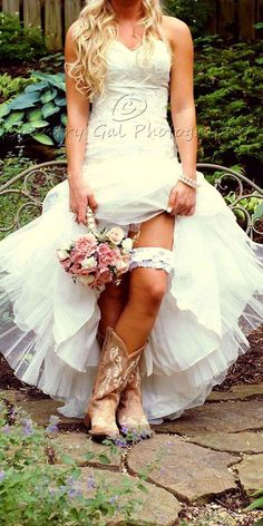 rustic wedding dresses country style bride in boots. I have those boots!!!
