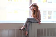 Cozy holiday glam: sequin leggings + slouchy sweater