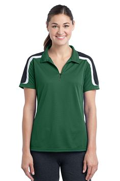 3a2630a28726e Sport-Tek Ladies Tricolor Shoulder Micropique Sport-Wick Polo T 391 Anvil  Ladies  Sheer Scoop-Neck Tee. Golf