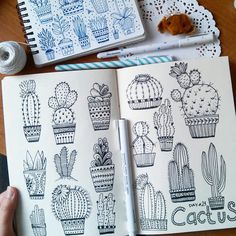 I love cactus), but I ever wanted to draw them)))) So the project from was very interesting to consider various types of cacti and draw them)))) I'm glad that you like my work) and some even wait Doodle Drawings, Doodle Art, Cactus Drawing, Doodles, Arte Sketchbook, Line Drawing, Art Inspo, Art Projects, How To Draw Hands