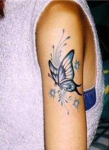 small flower and butterfly coloured tattoos - Google Search