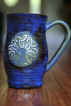 Handmade Swirled Blue green Mug for Coffee by DawnDesignsPottery