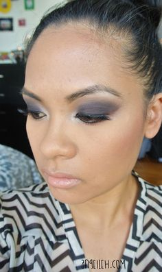 Smokey eye makeup and nude lipstick. For more details, check out -> The Beauty Beat www.angelieh.com