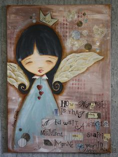 Camvas with an angel and a quote of Anna Frank. Decoupage, easy painting and much more in one creation