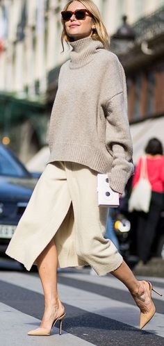 Beige Wrap Midi Skirt