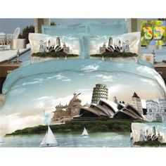 obliečka na posteľ s motívom Sidney - domtextilu. 3d Bedding Sets, Linen Bedding, Bed Linen, Famous Buildings, Natural Sleep, Bed Covers, Bed Spreads, Retro Fashion, Milan