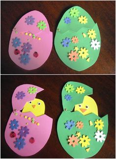 Easter eggs with children from different materials - 18 ideas Foam rubber Easter eggs with chicks tinker with children Easter Art, Easter Crafts For Kids, Easter Bunny, Diy For Kids, Easter Eggs, Fall Arts And Crafts, Holiday Crafts, Diy And Crafts, Kindergarten Crafts