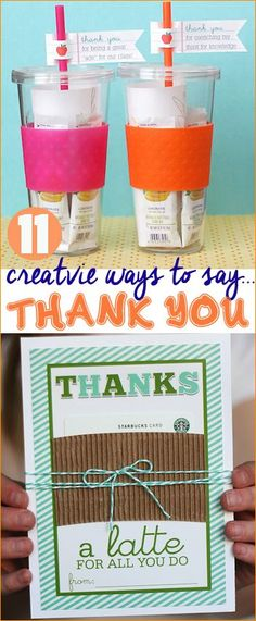 11 ways to say thank you.  Great teacher appreciation gifts and ways to let someone know you appreciate their service.