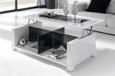 Mesa de centro elevable en color hueso y negro