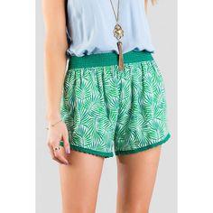 Delray Printed Shorts ($34) ❤ liked on Polyvore featuring shorts, green shorts, palm tree shorts, palm print shorts, crochet shorts and beach shorts