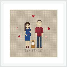 These make wonderful gifts for weddings, christmas, birthdays, etc! * This portrait listing is for a custom cross stitched PATTERN (3 characters) * Price varies on number of characters. *** If you want completed cross stitch portrait, please contact me!*** Upon ordering: - Select the