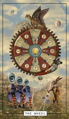 THE WHEEL - digital mixed media from tinycog tarot Astro Tarot, Esoteric Art, Charts And Graphs, Wheel Of Fortune, Major Arcana, Surreal Art, Tarot Decks, Archetypes, Tarot Cards