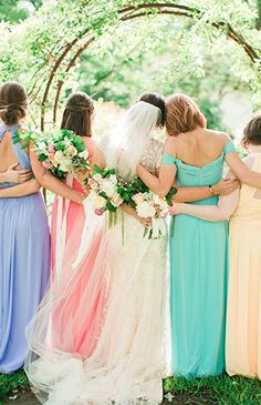 Pretty Pastel Texas Wedding with different style & color bridesmaid dresses