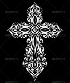 Buy Gothic Cross by vectorfreak on GraphicRiver. fully editable vector illustration (editable EPS) of gothic cross in white on isolated black background, image suitab. Cool Cross Tattoos, Celtic Cross Tattoos, Celtic Art, Gothic Crosses, White Crosses, Wall Crosses, Crosses Decor, Crucifix Tattoo, Cross Coloring Page