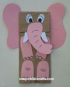 Elephant puppetLittle mermaid/Crafts Paper bag puppets/titeres/ animals/ a nimales.