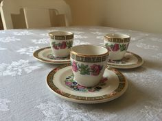A set of 3 Arklow Pottery Indian Tree Design (It is also known by Flamel Rose) Egg Cup set.