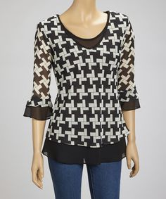 Take a look at this Black & White Three-Quarter Sleeve Layered Top by Wall Street on #zulily today!