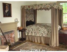 Colonial Bedroom. love the style but maybe another choice of colors...