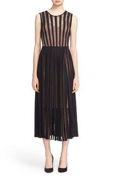 Flared Stripe Lace Dress