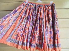 S - 90s Indian Cotton Skirt - Bohemian - Hippie - Gypsy Skirt - Floral Peach Purple Skirt - Extra Small