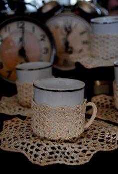 Vintage - Xícara de Crochê