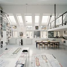 the skylights just make this loft more massive loving how they open it up!