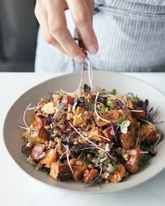 Roasted Sweet-Potato and Farro Salad: Savory, sweet, and nutty all at once, this is a salad that can be enjoyed warm or chilled.