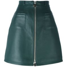 Carven zipped a-line skirt ($890) ❤ liked on Polyvore featuring skirts, bottoms, saias, green, green a line skirt, zip skirt, a line skirt, blue a line skirt and carven skirt