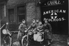 """The famous """"Flying Squadron"""" unit of the American Red Cross photographed with their motorcycles during the Great War; the men were renown for being able to get underway within 3 minutes of receiving the call."""